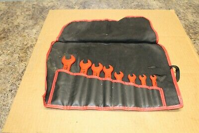 Knipex Insulated 1000V Open End Wrench Set SAE 8 Piece w/ Tool Roll Bag