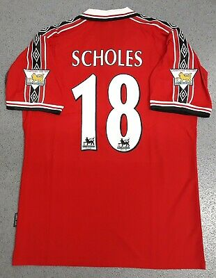 Manchester United 1998 1999 Retro Football Shirt Man Utd Jersey SCHOLES 18 - HOT