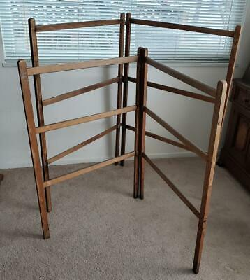 Antique Primitive Wood Quilt Rack, Herb Drying Rack, Farmhouse Folding Rack