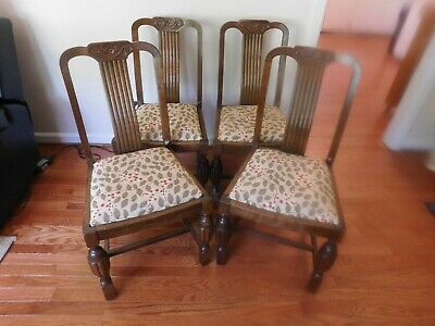 ANTIQUE JACOBEAN CHAIRS SET OF 4 OAK, HAND CARVED 1920's