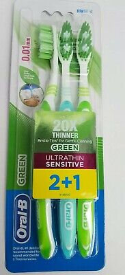 Oral B Ultrathin Sensitive Toothbrush Extra Soft Green 20Xthiner Bristles 3 Pack