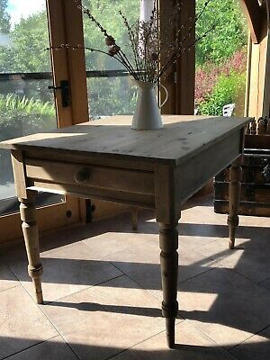 Petite Vintage Pine Farmhouse table with large drawer