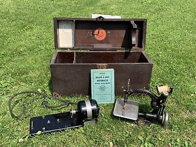 Antique Willcox And Gibbs Sewing Machine With Original Box & Manual