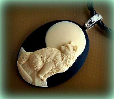 Art Deco Antique style Cameo Kitty CAT KITTEN Pendant Jewelry Necklace