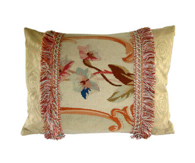Antique French Aubusson Tapestry Fragment Pillow