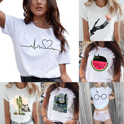 Summer Couples Lovers T-Shirt For Women Casual Love Heart Tops Tshirt For Women@
