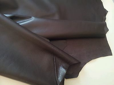 Classical Chocolate Brown lamb leather Nappa Skins Hides 9 sqft