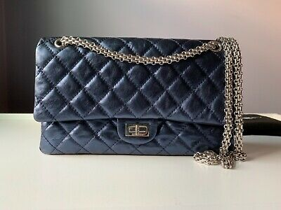 340e8d28f4d7 100% Authentic CHANEL 2.5 Metallic Dark Blue Quilted Reissue 226 Double Flap  Bag