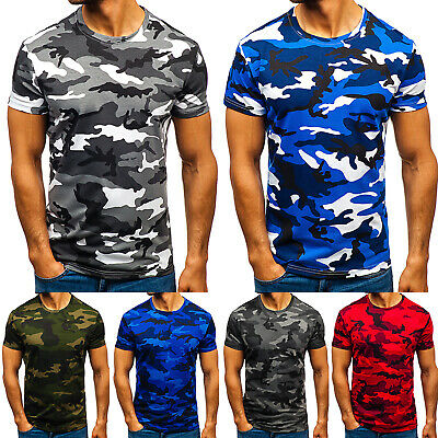 Mens Camo Fitness T Shirt Military Short Sleeve Army Slim Blouse Gym Casual Tops