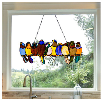 """River of Goods Birds on a Wire 9.25-inch Stained Glass Window Panel - 24.25""""L x"""