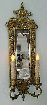 Antique 1880's ? Cast Brass Mirror Candle Sconce Bradley Hubbard Victorian NICE