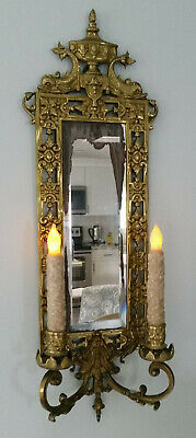 SALE Antique 1880's ? Cast Brass Mirror Candle Sconce Bradley Hubbard Victorian