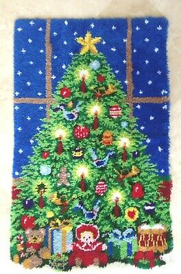 "Vintage Herrschners~COMPLETED~Christmas Tree Latch Hook Rug  50"" X 30""~TERRIFIC"