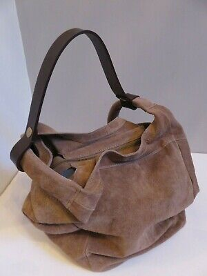 4a55394b2f Anokhi Beige Brown Suede Leather Slouch Zipper Purse Shoulder Bucket Bag  Handbag