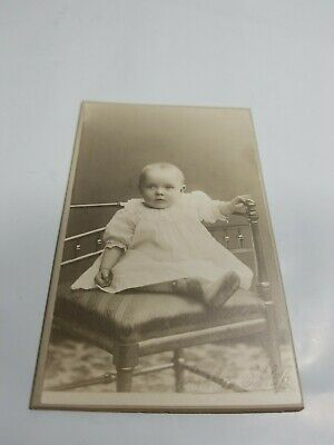 Antique Victorian Era Cabinet Photograph Swedish Family Infant in Lace Chair