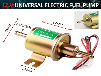 Universal Electric Fuel Pump Low Pressure 12 Volt 2-4 PSI Fittings Rubb Pad 7782