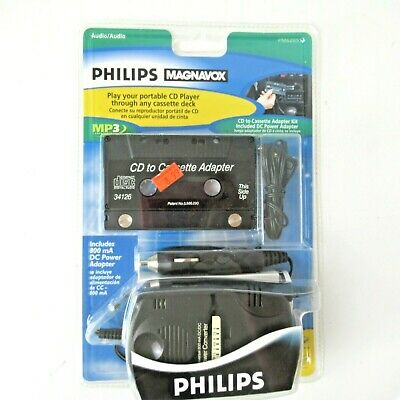 NOS Philips Magnavox CD to Cassette Adapter Kit PM62051 Power Adpter included