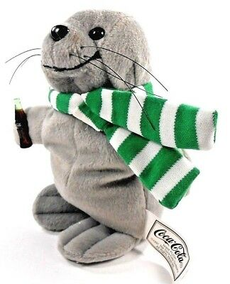 Coca Cola Seal Plush Bean Bag Coke 1997 Green White Scarf Collectible