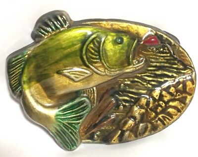 Vintage Enamel Belt Buckle MBCI USA Bass Fish Jumping out of water Fishing