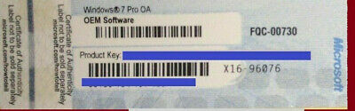 Windows 7 Professional License KEY WITH COA