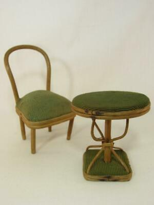 *True Antique Doll Size Table and Chair  Vintage 1903 Miniature Toy Furniture