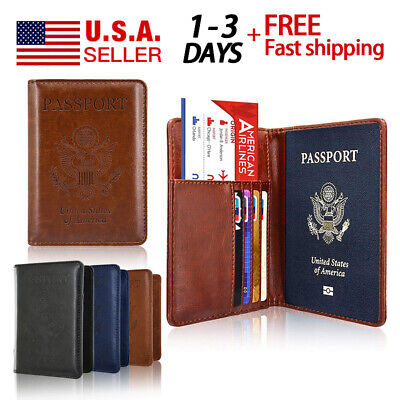 Wallet RFID Blocking For Securely Travel Trip Leather Passport Holder Case Cover
