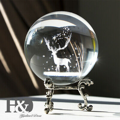 3D Solar System Crystal Ball Clear Deer Engraved Glass Ball Sphere Office Decor