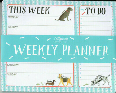 UNDATED WEEKLY PLANNER PAD - Monday to Sunday with TO DO - DOGs Theme 52 Sheets