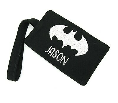 Personalised Name Batman Fabric Luggage Tag, Kids Adults Boys Name Luggage Tag