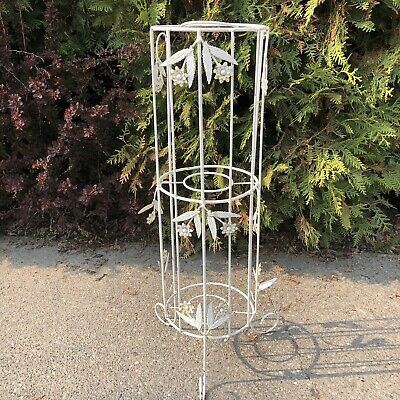 "Vintage Mid Century Modern 33"" White Wrought Iron Plant Stand Holder MCM Rack"