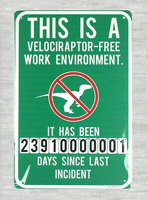 View Velociraptor Free Workplace Sign JPG