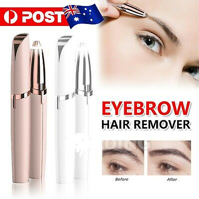 Electric Brow Remover Razor Face Eyebrow Facial Hair Removal LED Light Pink