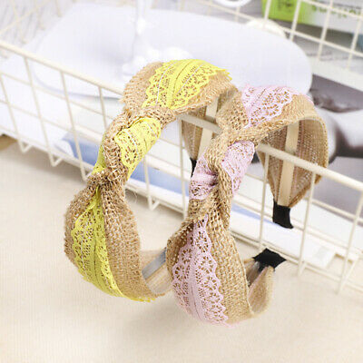 Women's Tie Headband Hairband Twist Bow Knot Lace Hair Hoop Bands Accessories