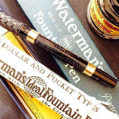 Early Waterman Eyedropper Fountain Pen 1910 Boxed Mint