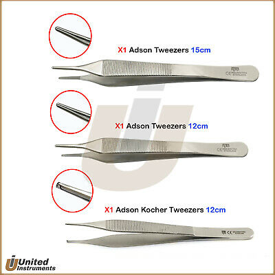 3Pcs Surgical Micro Adson Kocher Tweezers Tissue Cotton & Dressing Forceps Lab