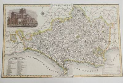 Map of the County of DORSETSHIRE : 1840 Pigot and Co -  Reproduction
