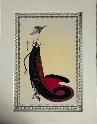 "Original Vintage Erte Art Deco Print  ""BLACK MAGIC"" FROM THE VAMPS  Mounted"