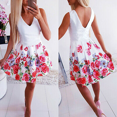 Sexy Sleeveless Backless Princess Skirt Summer Women Floral Pleated Swing Dress