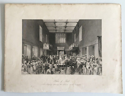 Antique Book Print / Plate Her Majesty Opening The Session of Parliament 1841