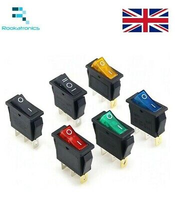 Rectangular Latching Neon Rocker Switch ON/OFF 3 Pin Red Green Blue Yellow KCD3