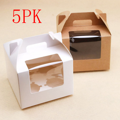 5PK Kraft Cupcake Box With Handle 4 hole Window Face Cases Party Box Brown/White