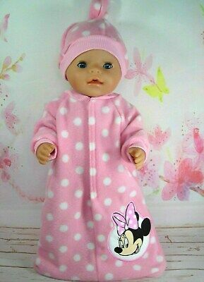 "Dolls clothes for 17"" Baby Born doll~MINNIE MOUSE PINK/WHITE SPOTS SLEEPING BAG"