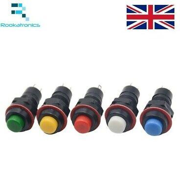 10mm Round Push Button Momentary Self Reset Switch White Red Green Blue Yellow