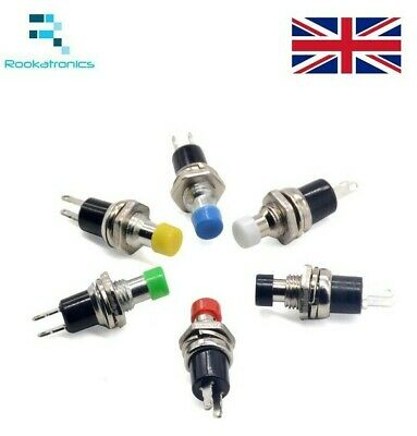 7mm Round Metal Push Button Momentary Switch Black White Red Green Blue Yellow