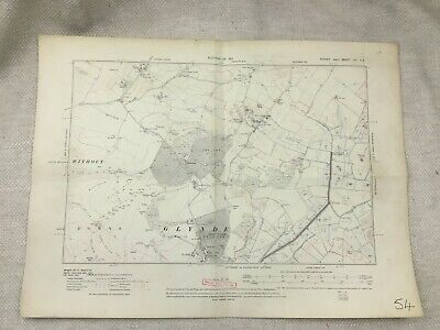 1911 Antique Map of Sussex Glynde Old Village Lewes District Old Edition