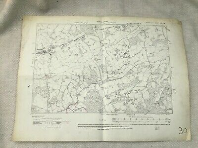 1910 Antique Map of East Sussex Burwash Old Village Rother District