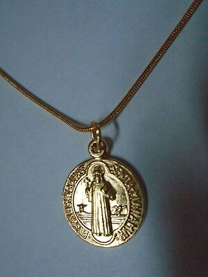 18K Gold Plated St Saint Benedict Medal Pendant ITALY Gold Snake Chain Necklace