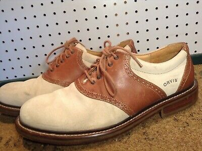 f365a406557 MEN'S ORVIS LEATHER Suede Saddle Oxfords 8M Sand/Tan Crepe Soles ...