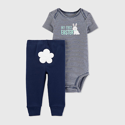 96e277192 Carter's JOY Baby Boys My First Easter Bodysuit Pants Set Navy Blue NWT