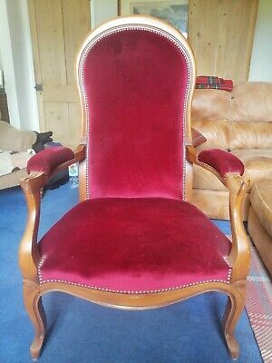 Reproduction Victorian high backed formal armchair, claret red.